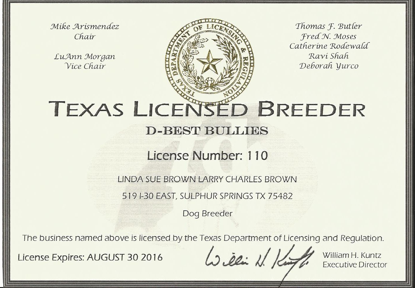 Breeder / Inspection License